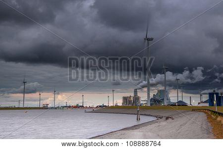 Clouded Industrial Harbor Landscape