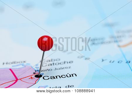 Cancun pinned on a map of Mexico