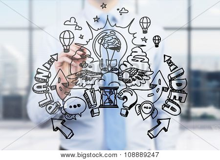 A Businessman Is Drawing A Business Plan Development Sketch On The Glass Screen. A Modern Panoramic