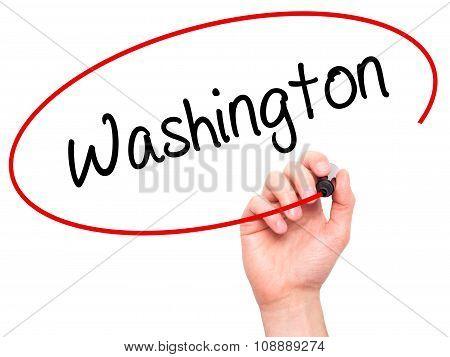 Man Hand writing Washington with black marker on visual screen