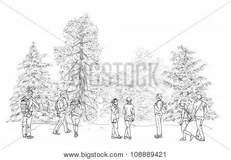 People walking in park, sketch collection
