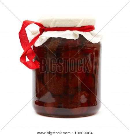 Preserve. Strawberry Jam In Jar Isolated On White Background. Series