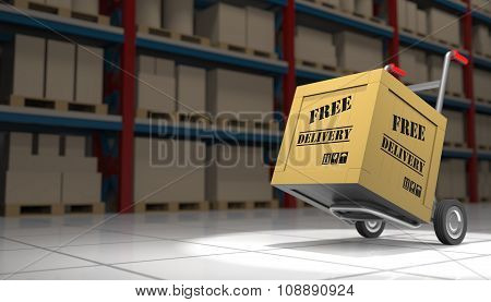 Free Delivery Box On A Hand Truck
