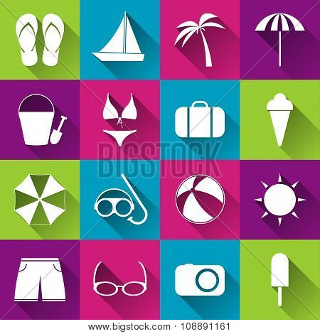 Summer beach flat icons collection