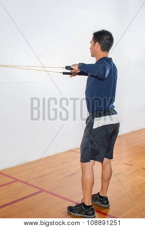 Resistance band exercise for shoulder stability