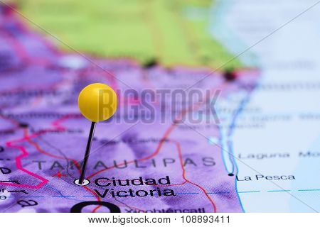 Ciudad Victoria pinned on a map of Mexico