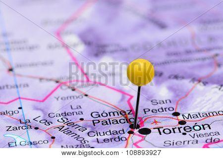 Gomez Palacio pinned on a map of Mexico
