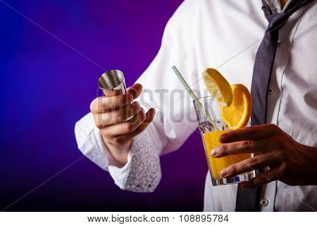 Young Man Bartender Preparing Alcohol Cocktail Drink