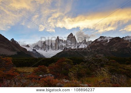 Fitz Roy Autumn Color And Sunset