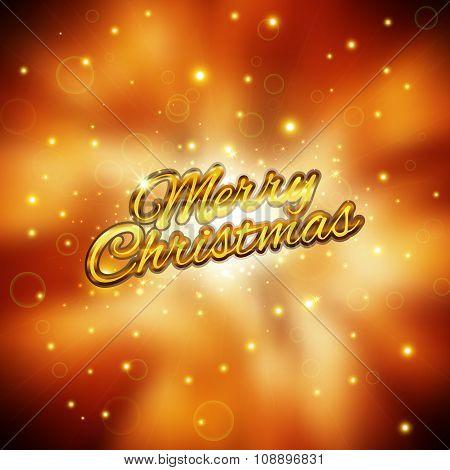 Merry Christmas Card. Glitter Lights Background. Vector Illustration.