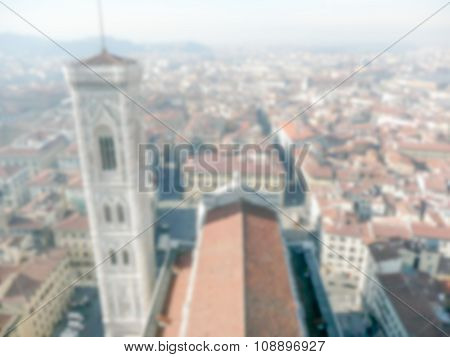 Defocused Background Of Florence. Intentionally Blurred Post Production