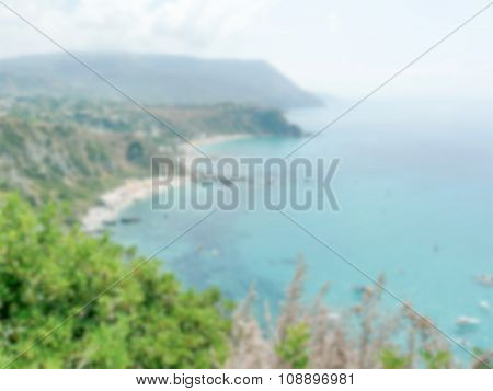 Defocused Background With Aerial View Of The Coastline At Capo Vaticano, Italy