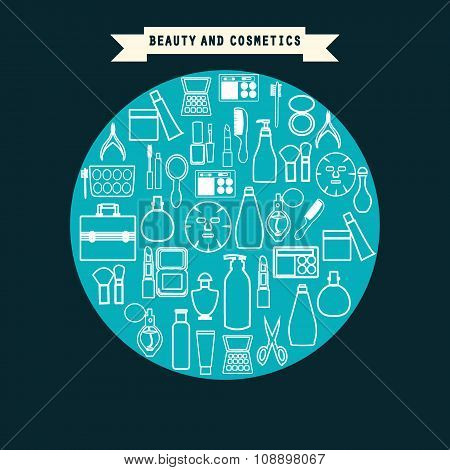 Beauty And Cosmetics Product  Set Icons Outline Style