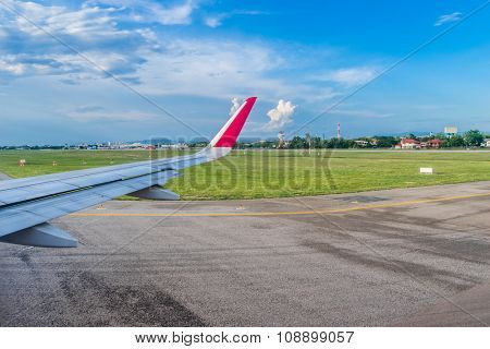 The plane take off from the airport