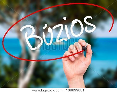 Man Hand writing Buzios  with black marker on visual screen.