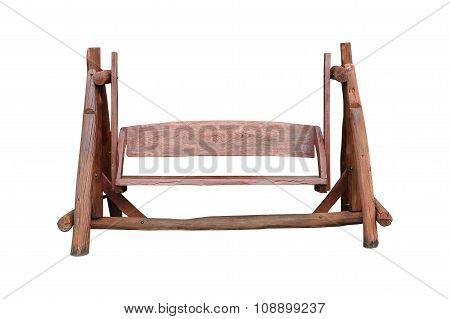 Wooden Swing Chair For Decoration And Comfort Zone In The Garden On White Background