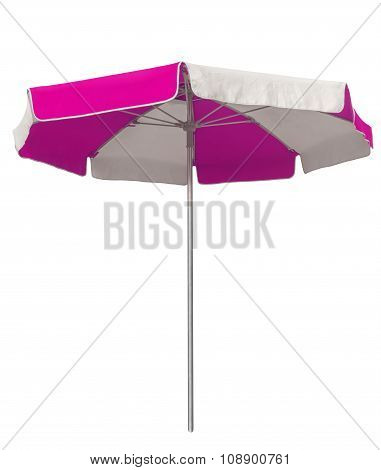 Beach Umbrella With Pink And White Stripes