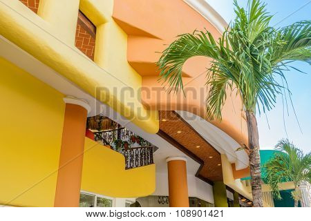 Modern apartment buildings in Playa Del Carmen, Mexico.