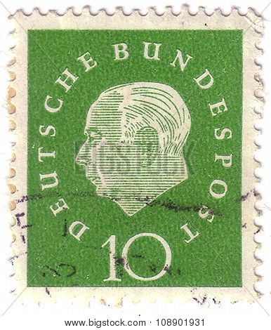 Germany - Circa 1959: A Pair Of Colorful Postage Stamp Printed In Germany With Portrait Image Of The