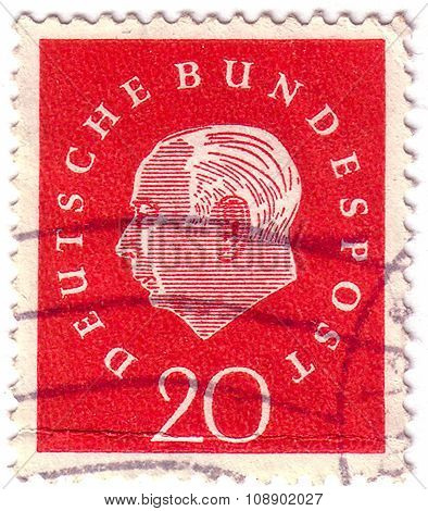 Germany - Circa 1959 :a Postage Stamp Printed In Germany With Portrait Image Of Theodor Heuss, The F