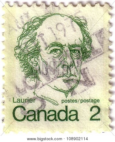 Canada - Circa 1972: A Stamp Printed In Canada Shows A Portrait Of Canadian Prime Minister Sir Wilfr