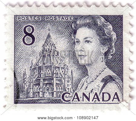 Canada - Circa 1972: A Stamp Printed In Canada Shows Queen Elizabeth Ii And Library Of Parliament, C