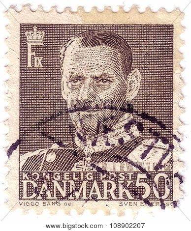 Denmark-circa 1960S:a Stamp Printed In Denmark Shows Image Of Frederick Ix (christian Frederik Franz