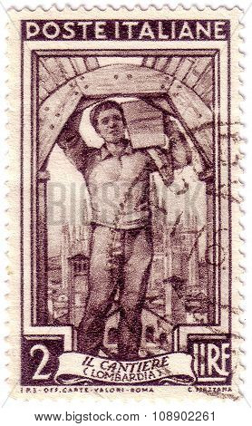 Italy - Circa 1950: Stamp Printed By Italy, Shows Mason, Circa 1950