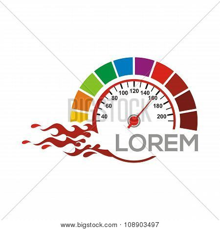 Speedometer Logo Vector Red Race Racing Drag