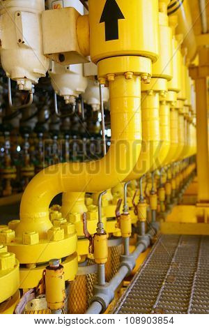 Pipelines constructions on the production platform, Production process of oil and gas industry