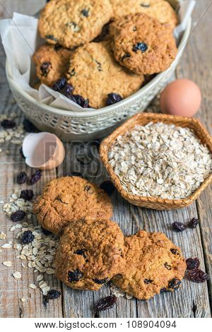 Cookies From Oatmeal And Raisins.