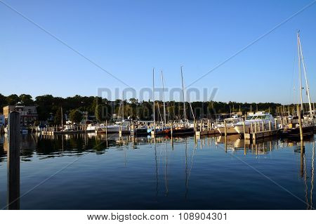 Sailboats and Yachts in the Marina