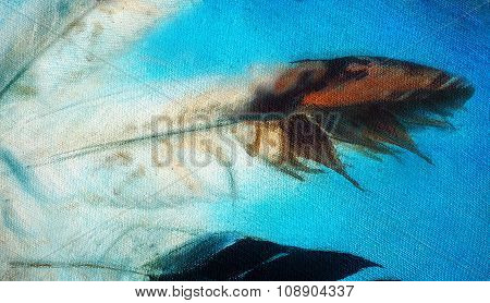 Eagle feathers on abstract blue background, detail oil painting
