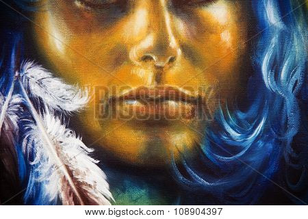 Detail Mystic woman face and feathers with blue hair