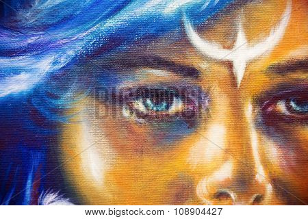 Detail Mystic woman face with ornamental tattoo on face and blue hair, eye contact