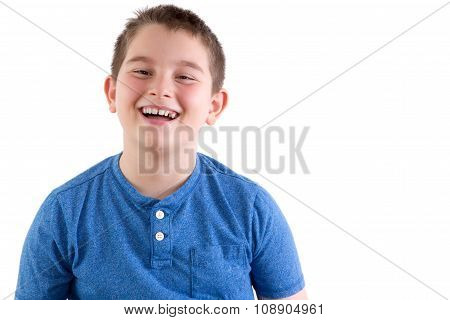 Carefree Young Boy Enjoying A Good Laugh