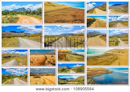 African Desert Road Collage