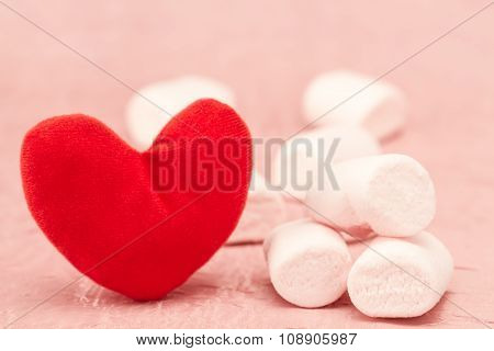Sweet Marshmallow And Red Heart On A Pink Background