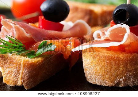 Two Tapas With Jamon With Tomato