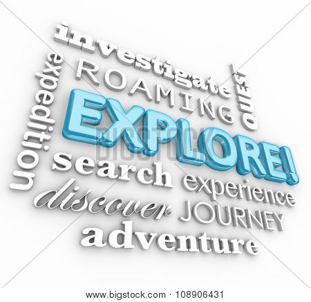 Explore 3d word in a collage of terms including investigate, expedition, roaming, search, quest, journey, discover and adventure