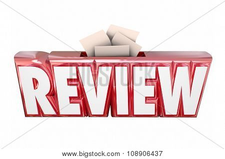 Review word in 3d letters and slot for score card or comment submission or collection