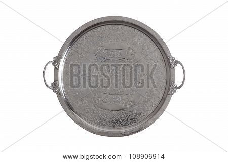 Embossed Round Silver Coffee Tray