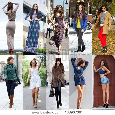 Collage of ten different models in fashionable clothes for the seasons, outdoors