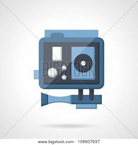 Blue action camera flat vetor icon