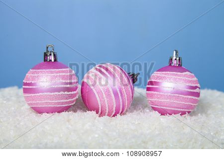 Pink Christmas Balls In The Snow