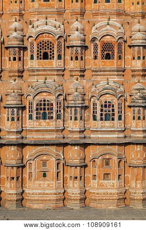 JAIPUR, INDIA - JAN 7, 2012: Hawa Mahal the Palace of Winds in Jaipur Rajasthan India.