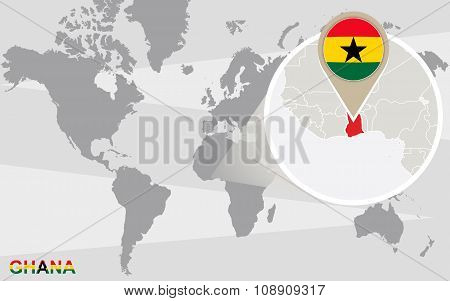 World Map With Magnified Ghana