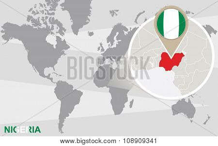 World Map With Magnified Nigeria