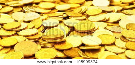 A many gold coins .