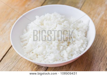 Cooked Rice In White Cup.